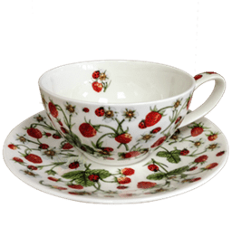 Bild von Dunoon Tea Cup & Saucer Set Dovedale Strawberry