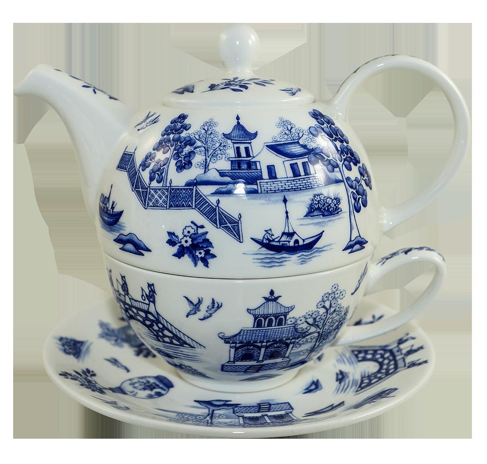 dunoon tea for one set oriental blue. Black Bedroom Furniture Sets. Home Design Ideas