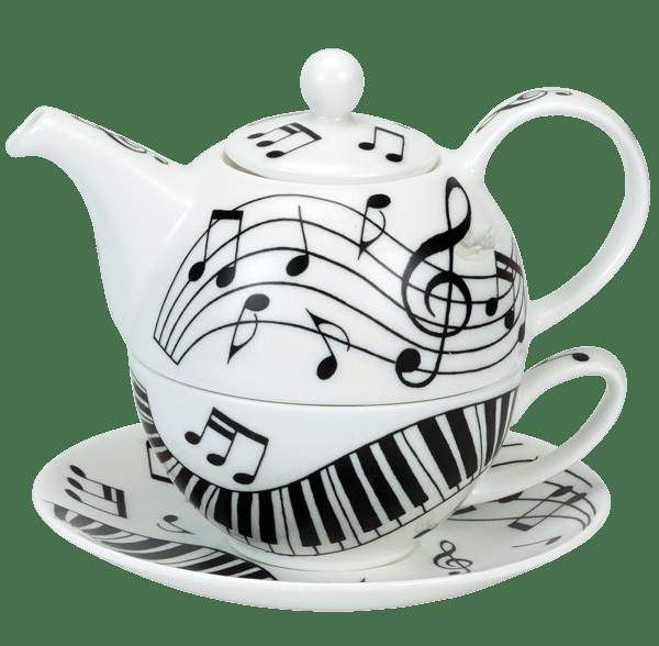 Bild von Dunoon Tea for one set Ebony and Ivory