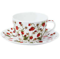 Bild von Dunoon Breakfast Cup & Saucer Set Dovedale Strawberry
