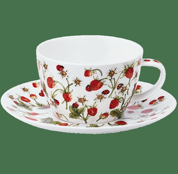 Bild von Dunoon Breakfast Cup & Saucer Set Dovedale Strawberry